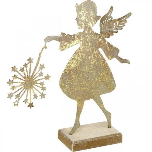 Engel mit Pusteblume, Metalldeko für Weihnachten, Dekofigur Advent Golden Antik-Optik H27,5cm