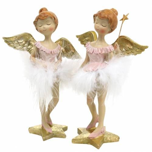 Deko Ballerina-Engel Rosa, Golden Ø11,5 H15cm 2St
