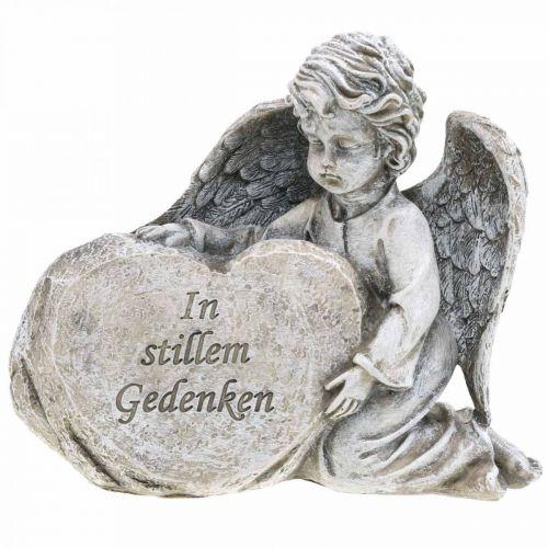 Engel mit Herz, Grabdeko, In stillem Gedenken, Engelsfigur, Trauerfloristik H15cm B18cm 2St