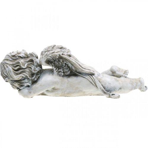 Grabdeko Engel schlafend Grabengel Grau Polyresin 39×14x13cm