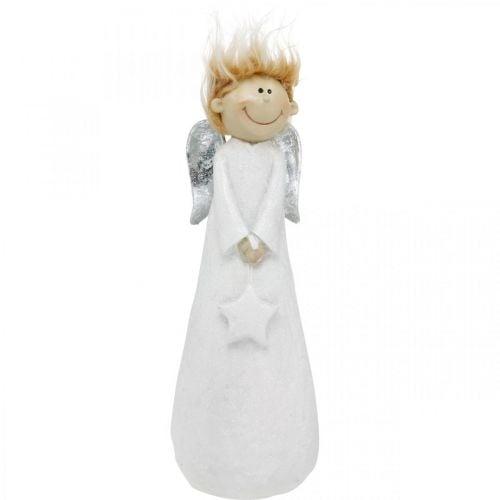 Deko Engel Figur Weihnachten mit Stern Weiß 10×8×28,5cm