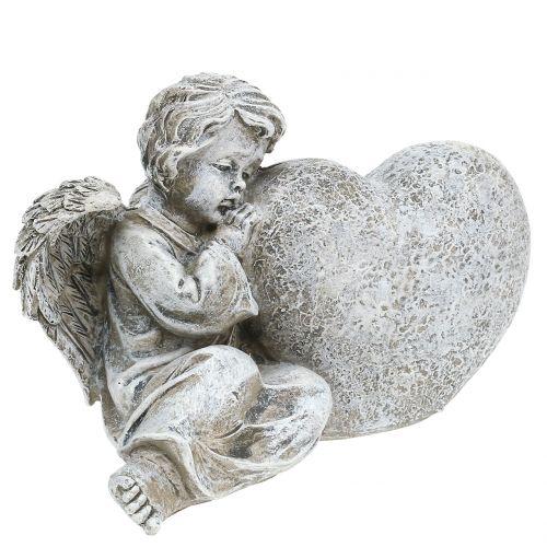 Engel mit Herz Grau 11,5cm x 9cm x 6,5cm 2St