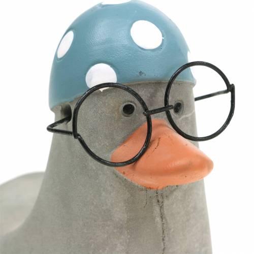 Deko-Ente mit Brille und Badekappe Grau 10,5cm 4St