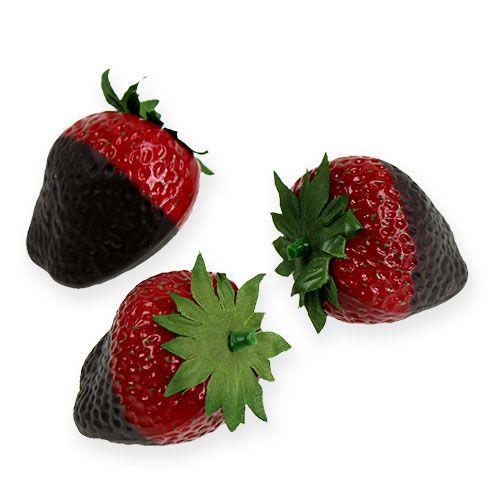 Deko-Erdbeeren mit Schokolade 4,5cm 5St