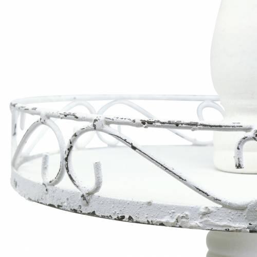 Etagere Weiß antik Metall 3-stöckig H68cm