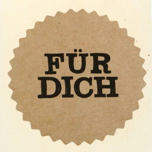 """Etiketten """"Für Dich"""" Natur Ø3,5cm 500St"""