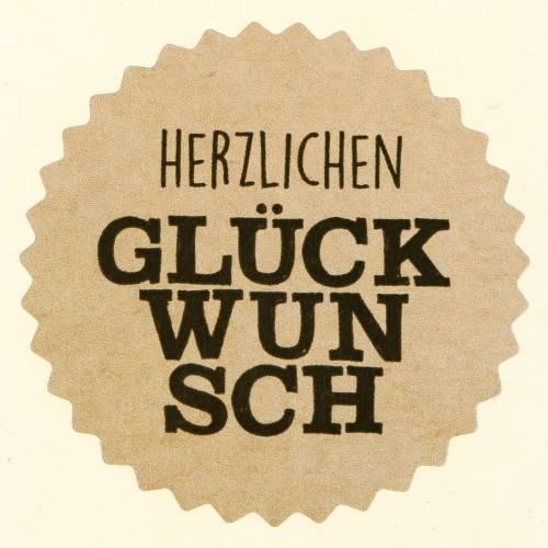 """Etiketten """"Herzlichen Glückwunsch"""" Natur Ø3,5cm 500St"""