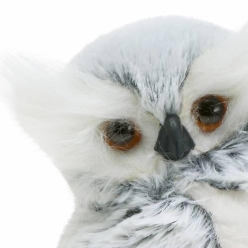 Deko Eule Weiß mit Fell und Federn 21cm