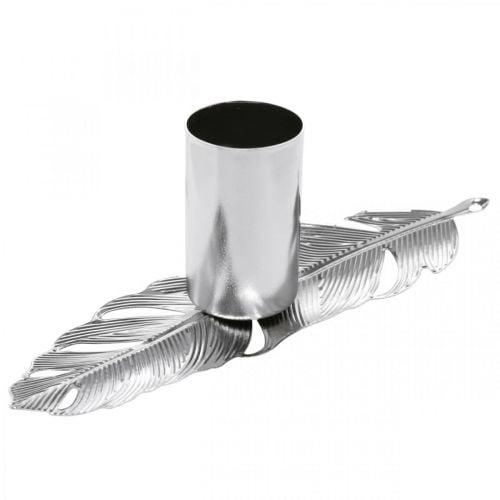 Federn mit Kerzenhalter, Metallfedern, Kerzenständer Silbern Ø2,2cm L13cm 4St