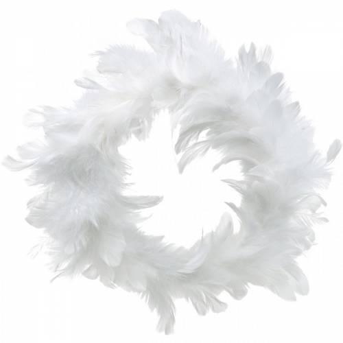 Weißer Federkranz Deko Ø25cm Osterdeko Echte Federn