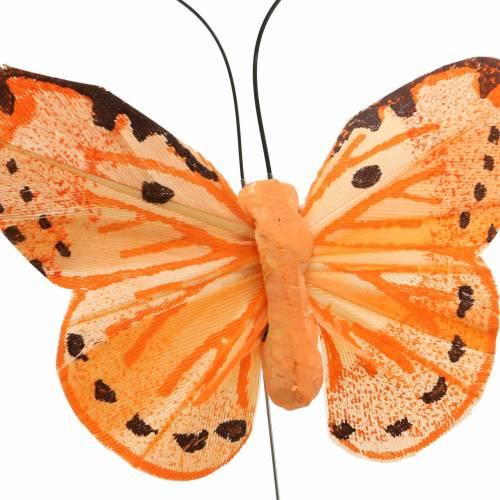Schmetterling gelb orange am Draht 7 cm Draht 24 Stück