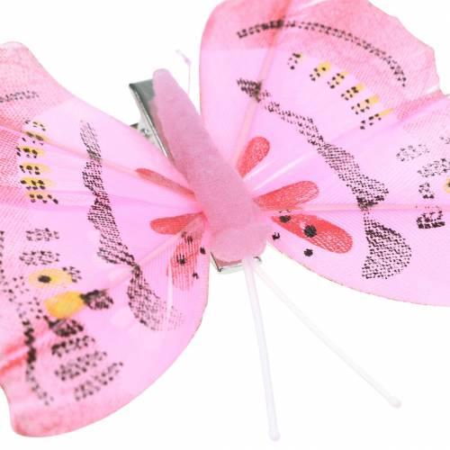 Schmetterling auf Clip rosa 6cm 10Stück