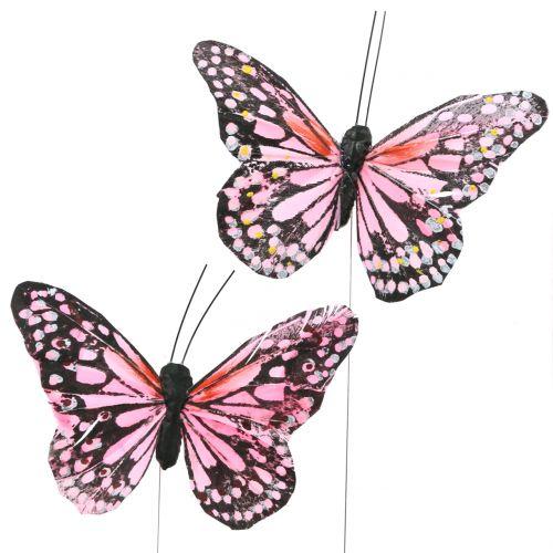 Feder Schmetterlinge am Draht gelb orange 12 Stück Sommer Frühlings Gestecke