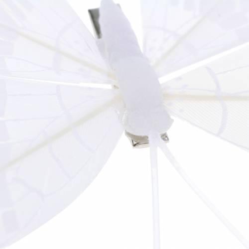 Federschmetterling auf Clip Weiß 6cm 10Stück