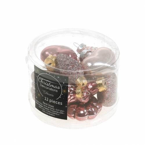 Mini-Christbaumschmuck-Mix sortiert Glas Rosa, Pink 12St