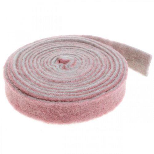 Topfband, Dekoband Wollfilz Altrosa/Grau B4,5cm L5m