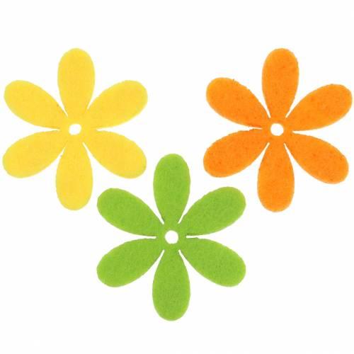 Filzblume Gelb, Grün, Orange Sortiert 4,5cm 54St