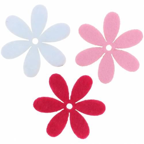 Filzblume Ø4,5cm Pink, Weiß, Rosa Sortiert 54St