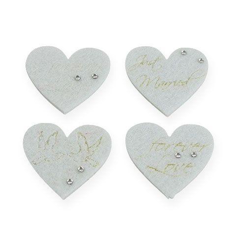 Hochzeit Streudeko Filzherzen In Weiss 4cm 24st Preiswert Online Kaufen