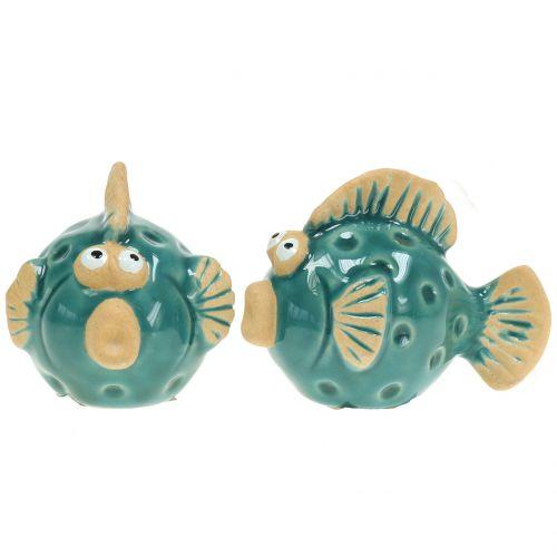 Fische aus Keramik Blau 5cm 8St