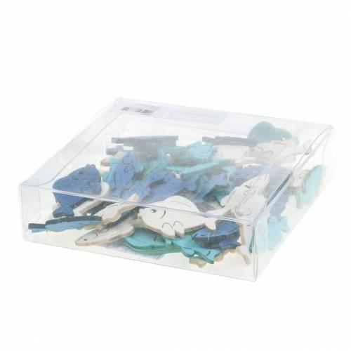 Streudeko Fische Holz Weiß, Blau, Hellblau 4cm 72St