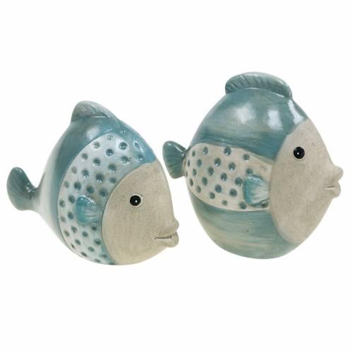 Deko-Fisch Terrakotta Blau, Grau H14cm/12,5cm 2er-Set
