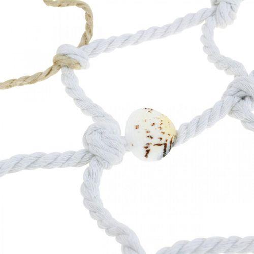 Fischernetz mit Muscheln und Treibholz, Maritim, Deko-Netz, Meeresdeko 72×120cm