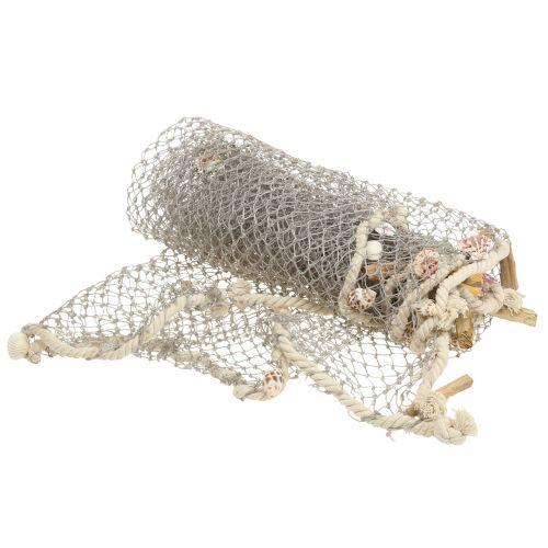 Fischernetz mit Muscheln und Treibholz 135cm