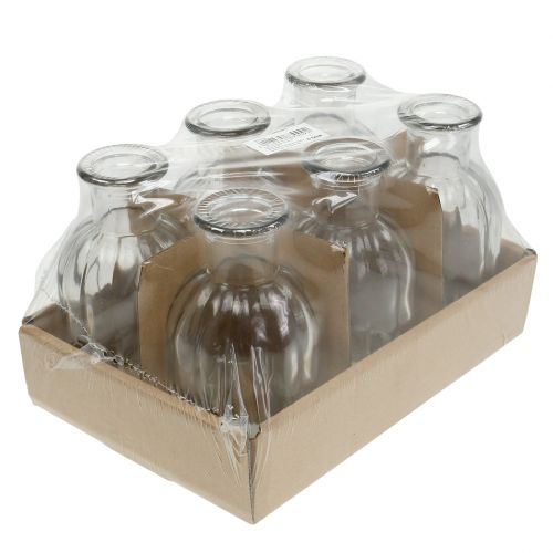 Deko-Flasche Blumenvase Ø7,5cm H13,5cm klar 6St