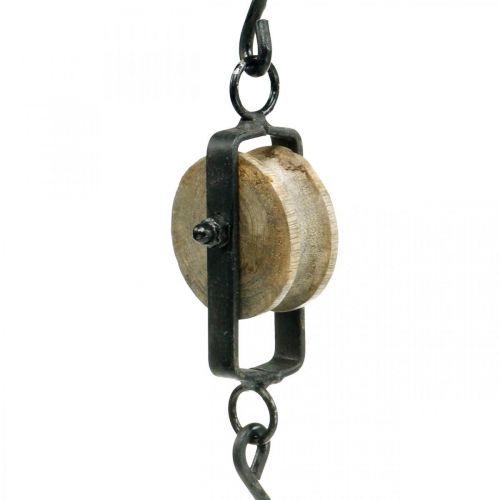 Deko Flaschenzug Metall Vintage Dekoration Aufhänger H22cm