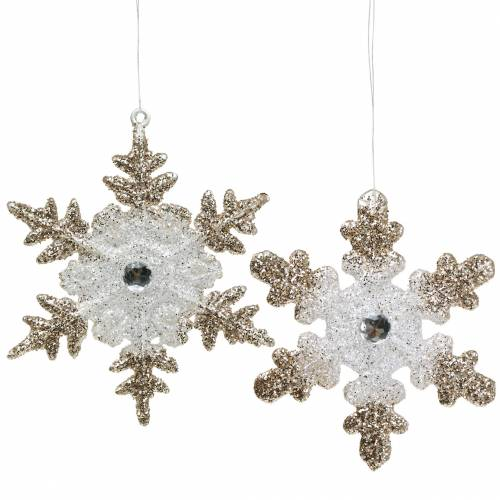 Christbaumschmuck Schneeflocke Glitter Perle 2St