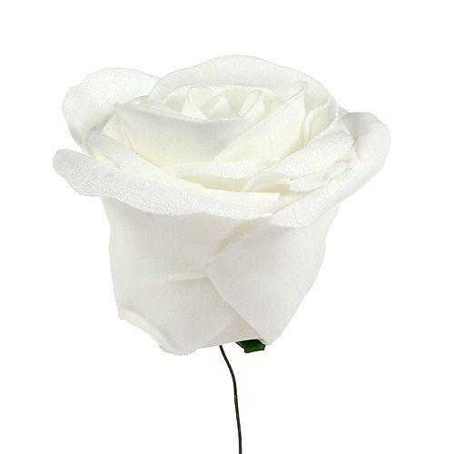 Foam Rose Weiß mit Perlmutt Ø7,5cm 12St