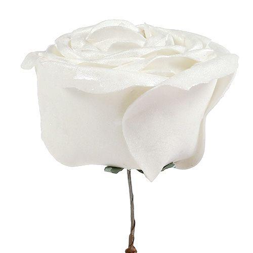 Foam-Rose Weiß mit Perlmutt Ø10cm 6St