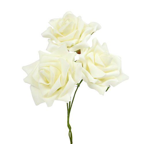 Foam Rose Ø 10cm creme 8St