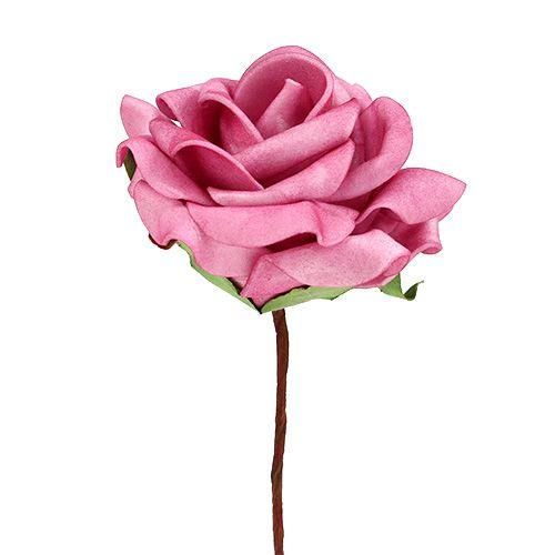 Foam-Rose Ø7,5cm Rosa 18St