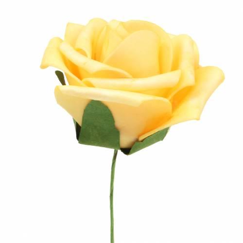 Foam-Rose Ø7,5cm Gelb 18St