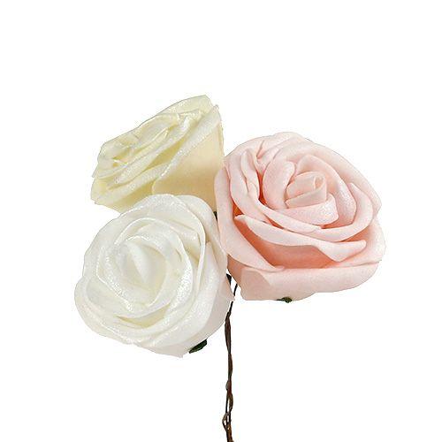 Foamrosen Mix Ø6cm Weiß, Creme, Rosa Perlmutt 24St