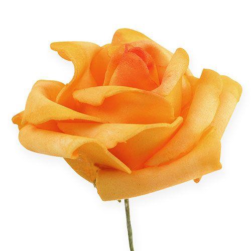 Foam-Rose Ø7,5cm Dunkelgelb 18St