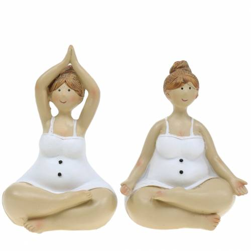 Yoga Dame Dekofigur 11cm 2St Weiß