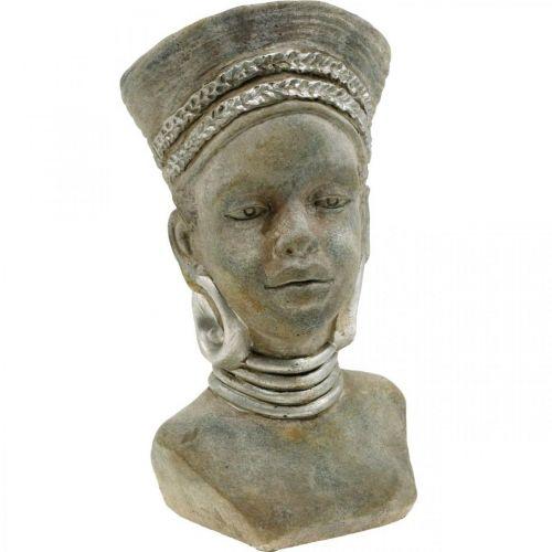 Pflanzkopf Büste Frau Afrikanerin Blumentopf Keramik H29cm