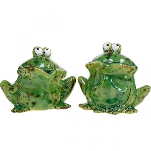 Froschpaar, Keramikdeko, Dekofrosch, Frösche sitzend