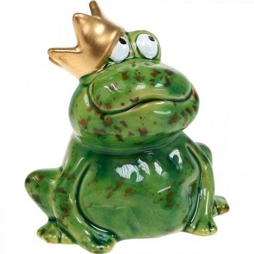 Frühlingsdeko, Frosch mit Krone, Dekofigur, Froschkönig
