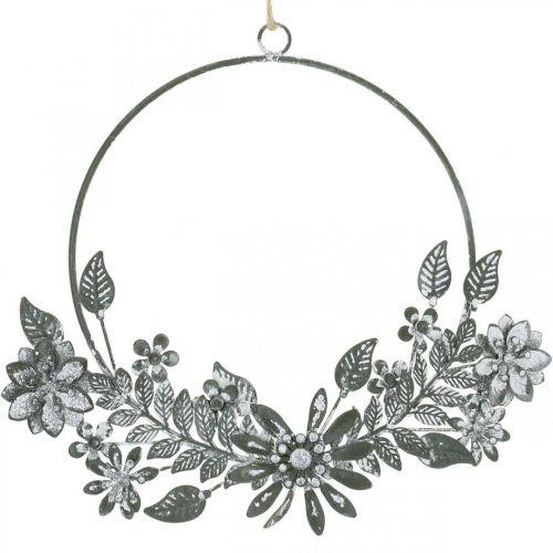 Frühlingdeko, Dekoring Blüten, Metalldeko, Anhänger Blumenschmuck Ø16cm 2St