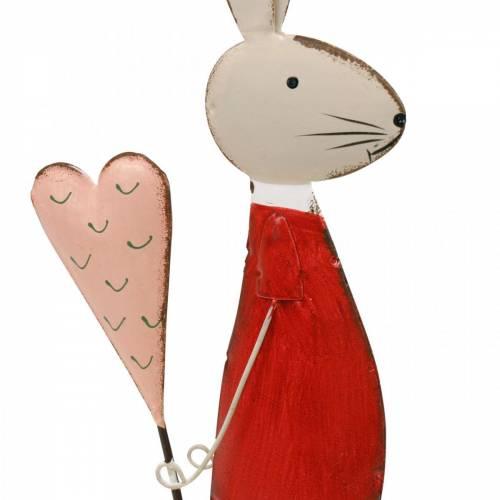 Frühlingsdeko, Osterhase aus Metall, Valentinstag, Hase mit Herz, Ostern 45cm