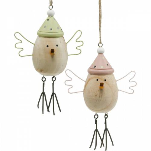 Frühlingsdeko, Vögel aus Holz, Wintervogel mit Mütze, Holzanhänger 4St