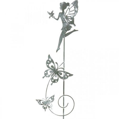 Gartendeko, Dekostecker Blumenelfe, Frühlingsdeko, Metallstecker, Fee mit Herzen, Valentinstag 2St