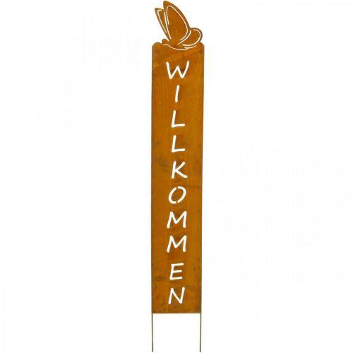 "Dekostecker ""Willkommen"", Beetdeko, Metallstecker Schmetterling, Gartendeko Edelrost H74cm"