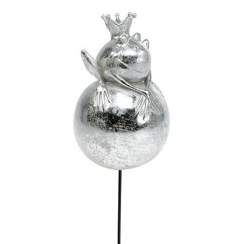Gartenstecker Frosch Silber 22cm 1m