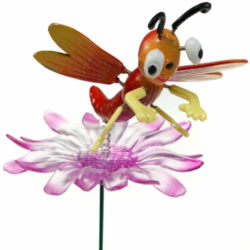 Gartenstecker Libelle auf Blume mit Metallfeder Orange, Pink H74cm