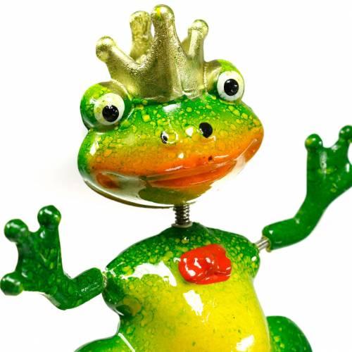 Gartenstecker Froschkönig mit Metallfeder Grün, Gelb, Golden H68,5cm